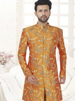Art Silk Sherwani in Orange