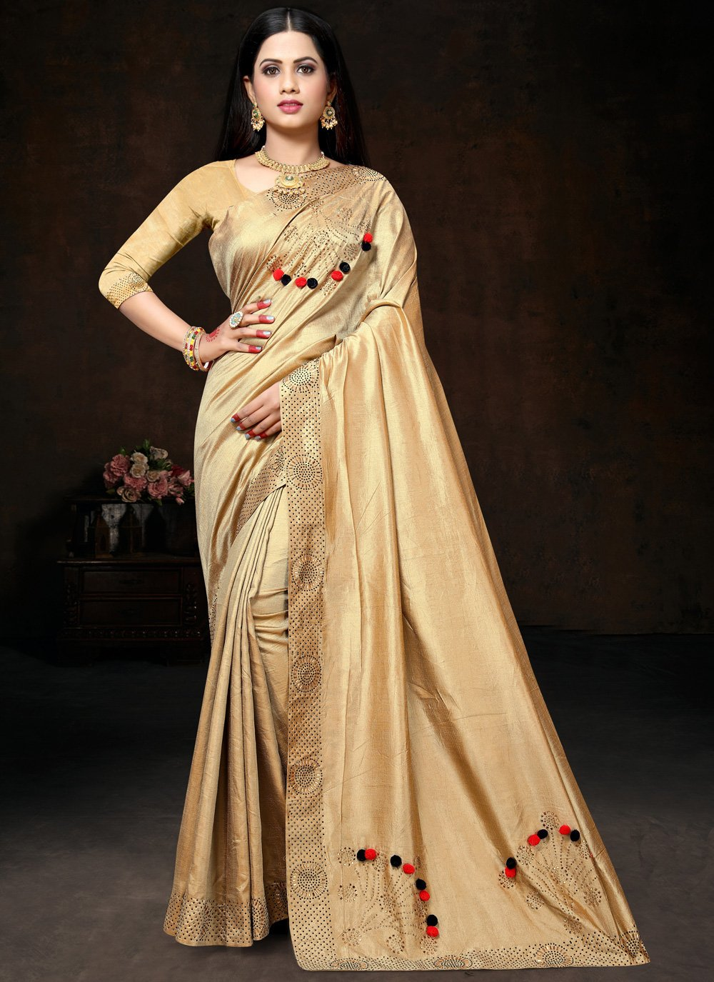 Art Silk Stone Contemporary Saree