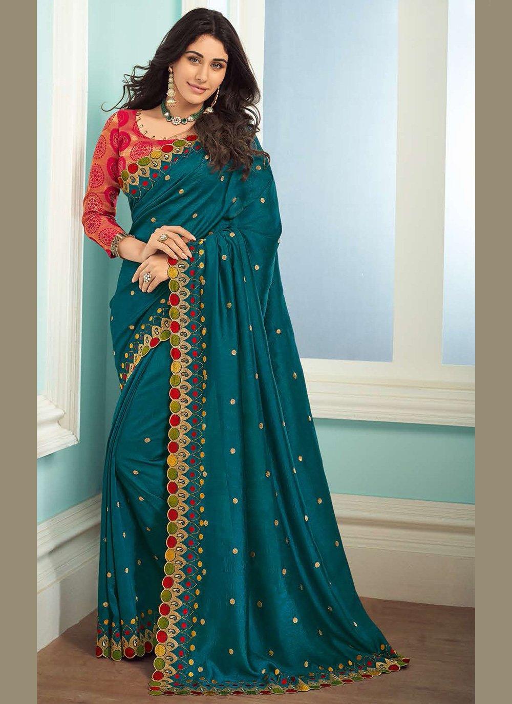 Art Silk Teal Embroidered Bollywood Saree