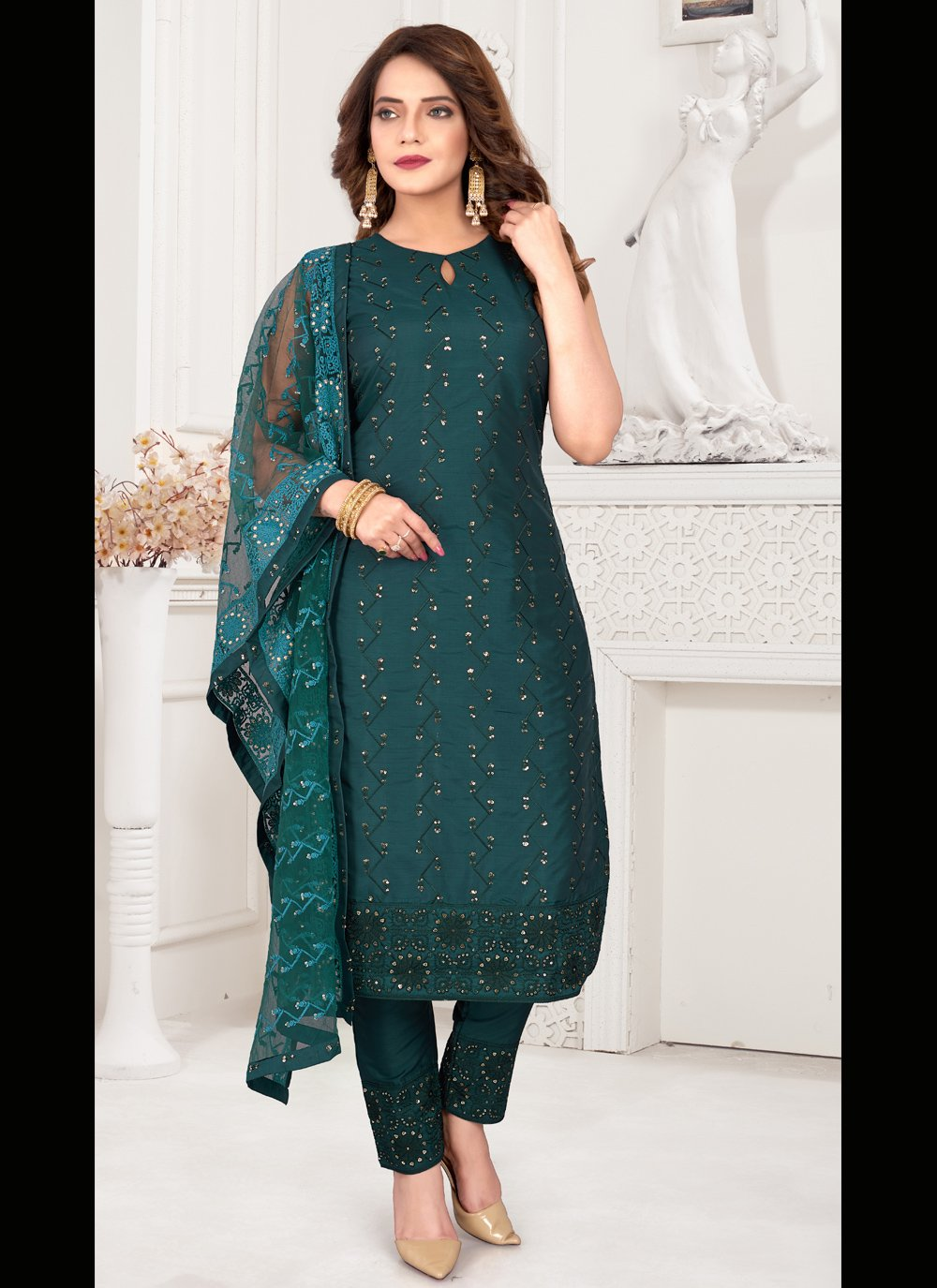 Art Silk Teal Embroidered Readymade Suit