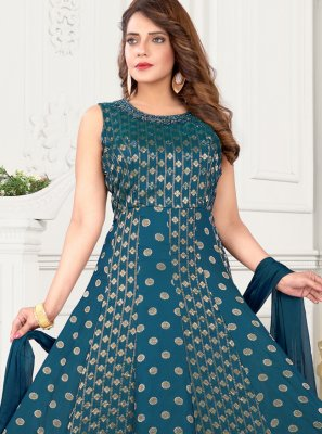 Art Silk Teal Floor Length Anarkali Suit