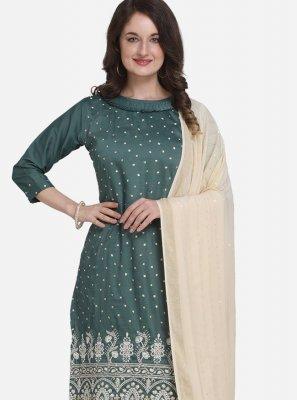 Art Silk Teal Palazzo Salwar Suit