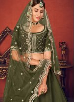 Art Silk Thread Green Lehenga Choli