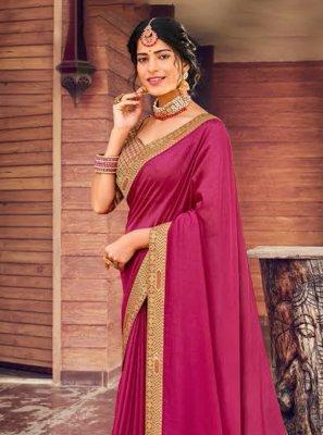 Art Silk Traditional Designer Saree in Pink