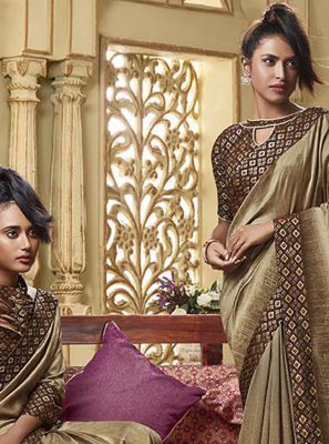 Art Silk Traditional Saree in Brown