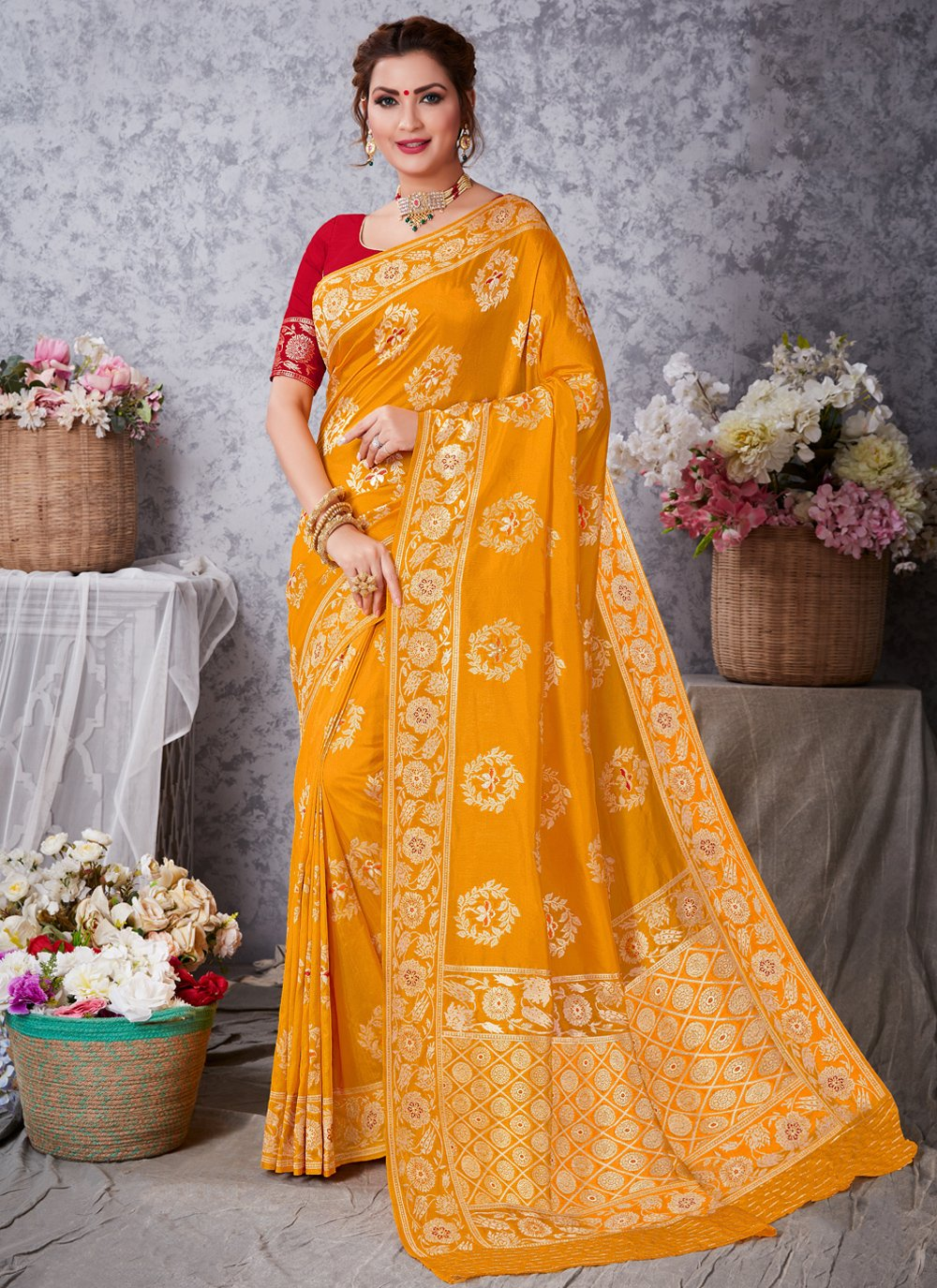 Art Silk Traditional Saree in Mustard