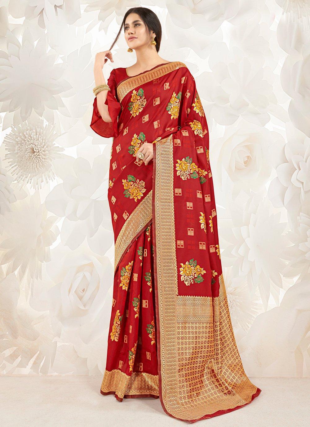 Art Silk Weaving Classic Designer Saree in Red