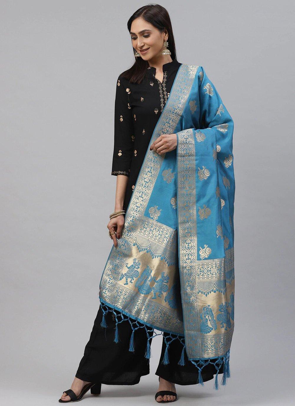 Art Silk Weaving Designer Dupatta in Blue
