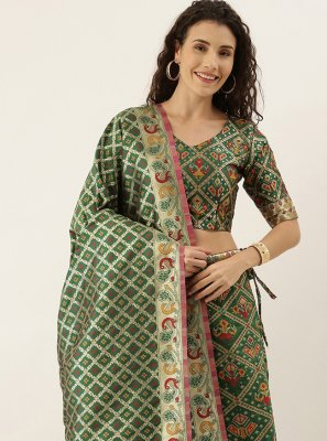 Art Silk Weaving Lehenga Choli in Green