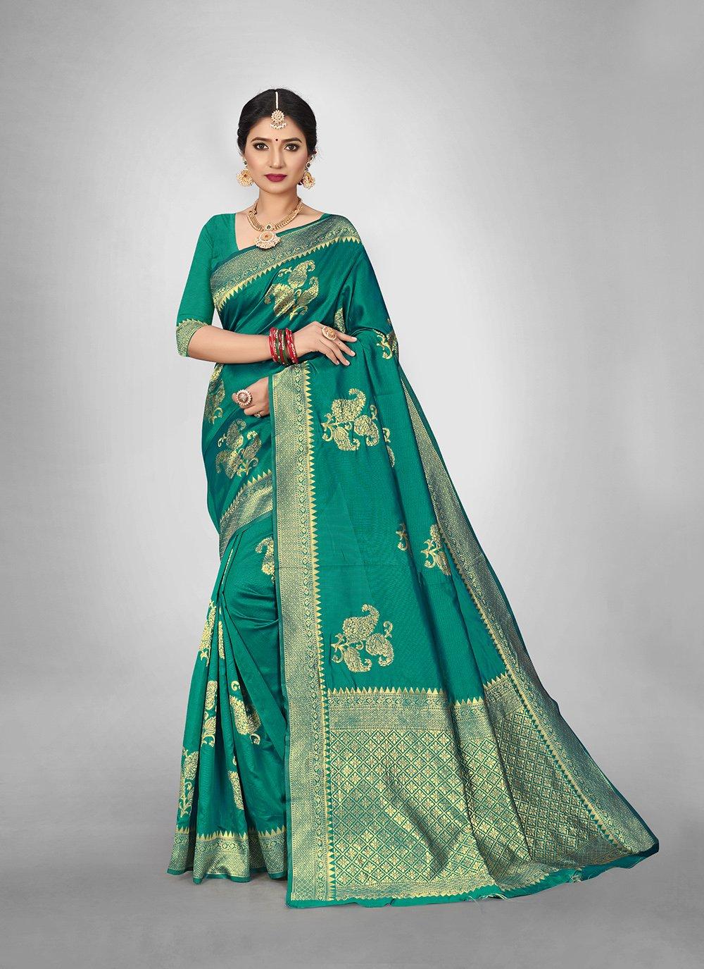 Art Silk Weaving Rama Silk Saree