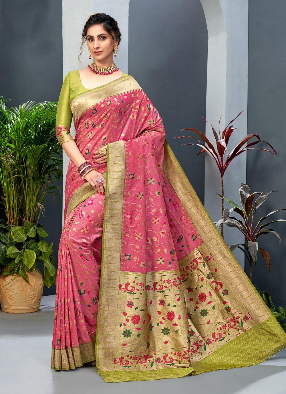 Art Silk Weaving Traditional Designer Saree in Pink