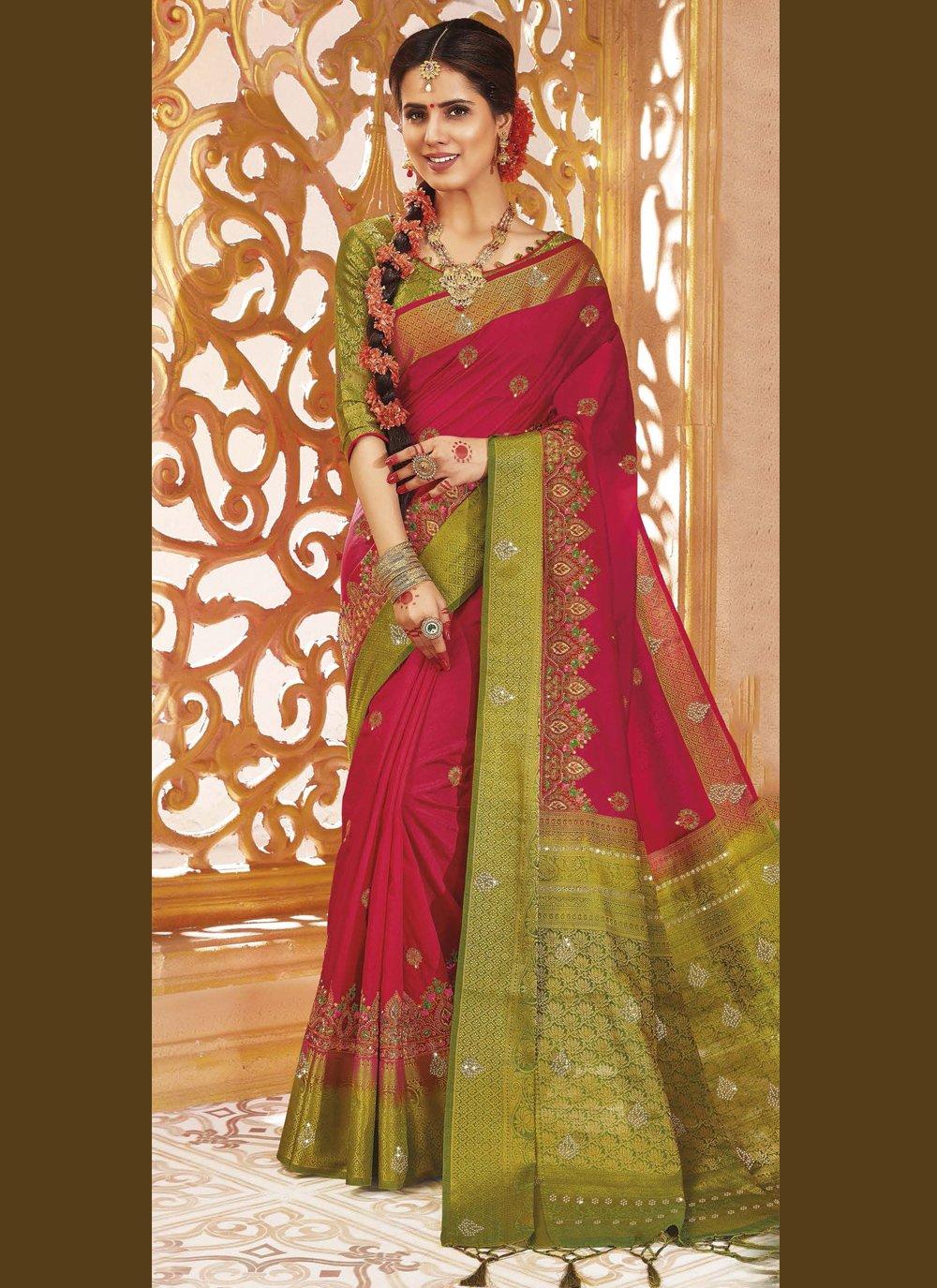 Art Silk Weaving Traditional Designer Saree in Rani