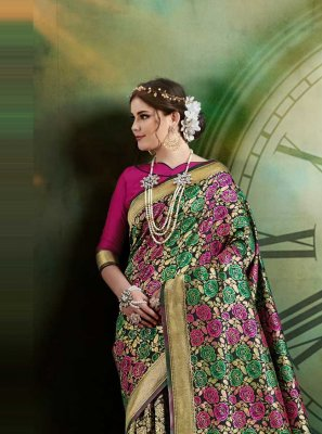 Art Silk Weaving Traditional Saree in Multi Colour