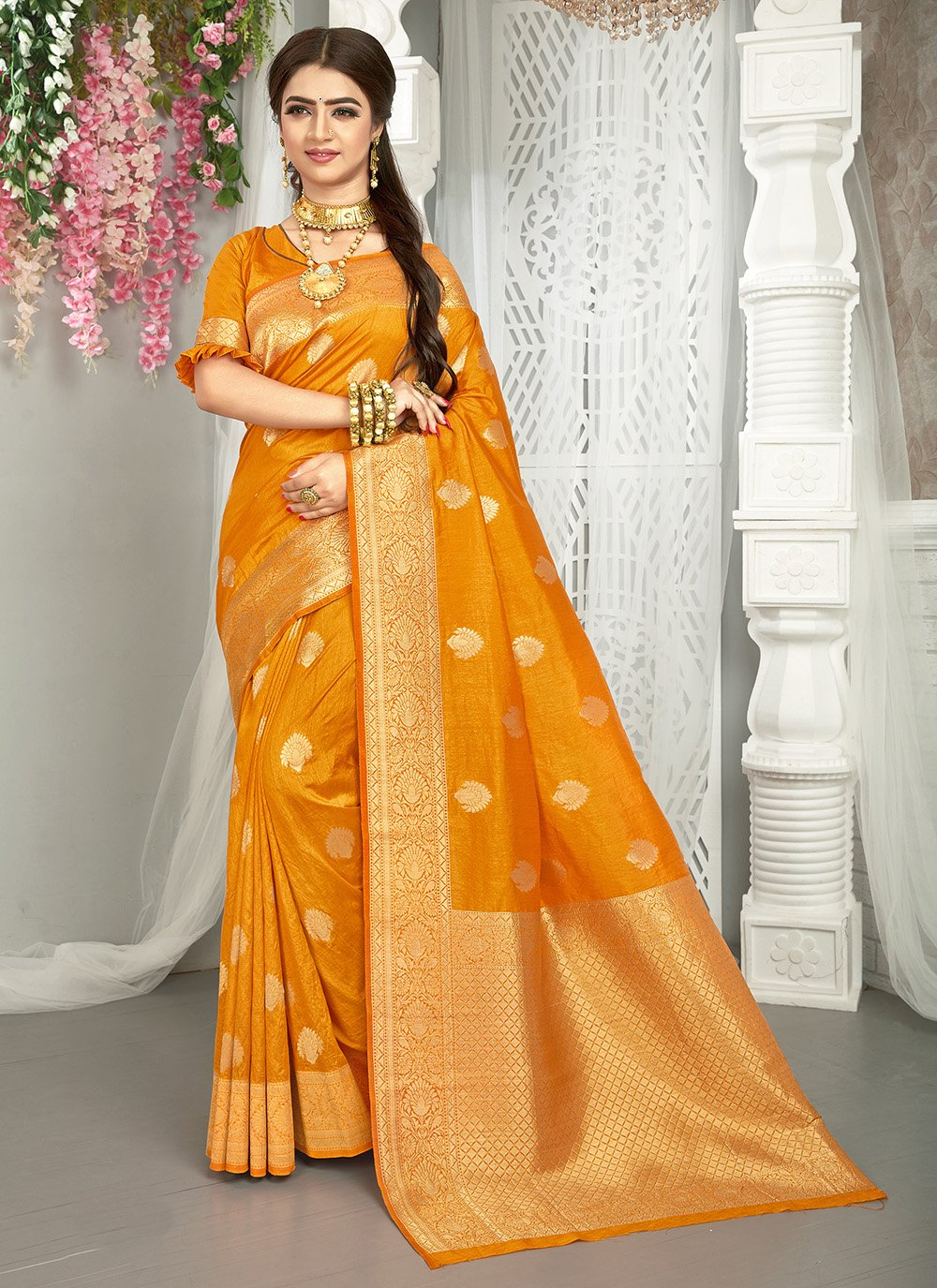 Art Silk Weaving Yellow Traditional Saree