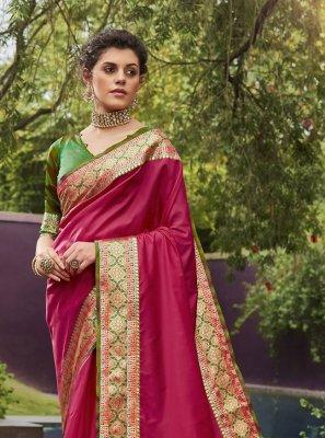 Art Silk Woven Magenta Designer Traditional Saree