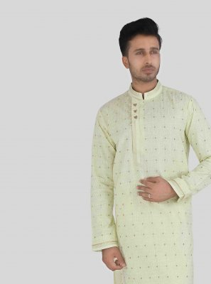 Art Silk Yellow Kurta Pyjama