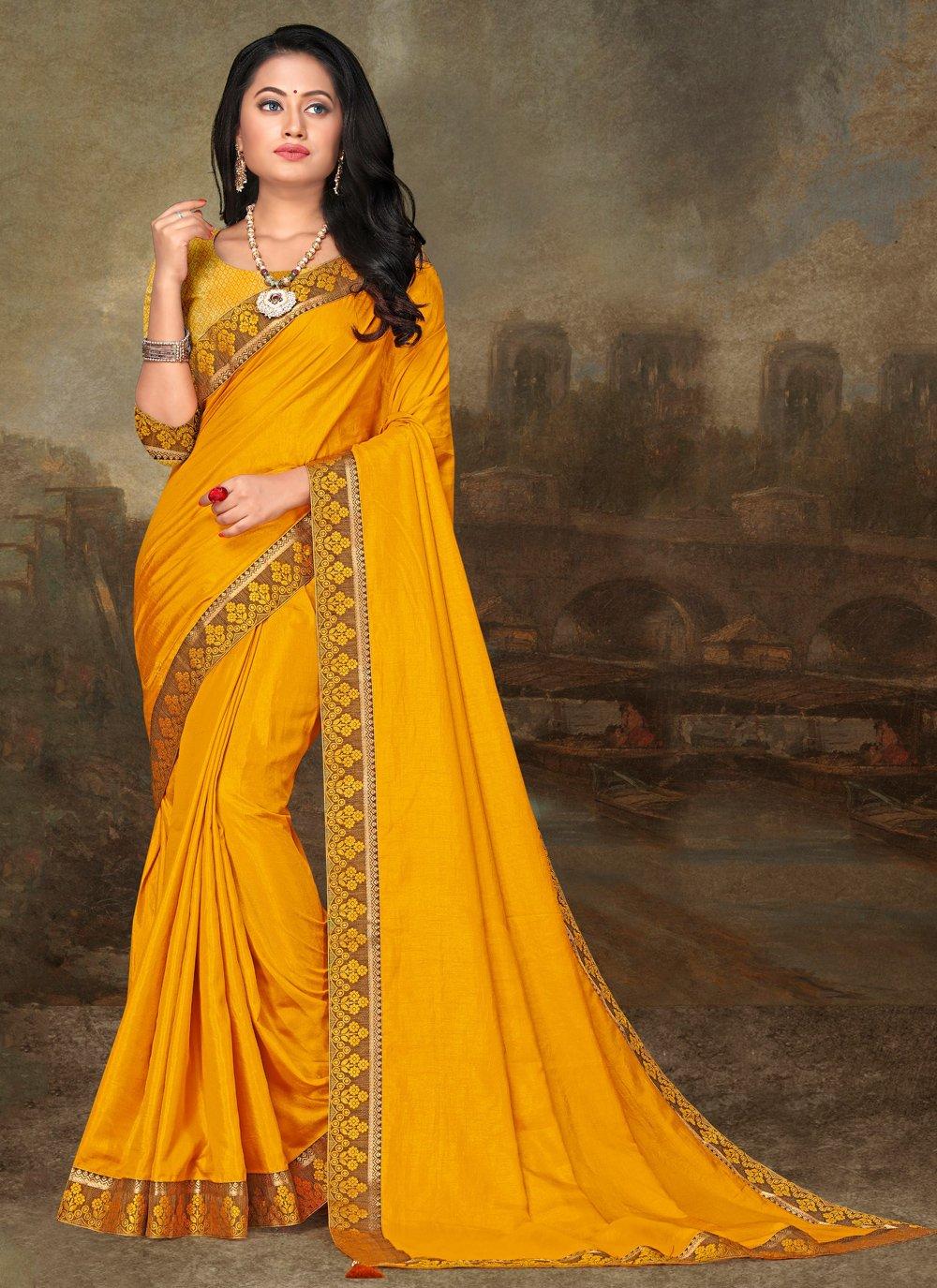 Art Silk Yellow Lace Traditional Saree