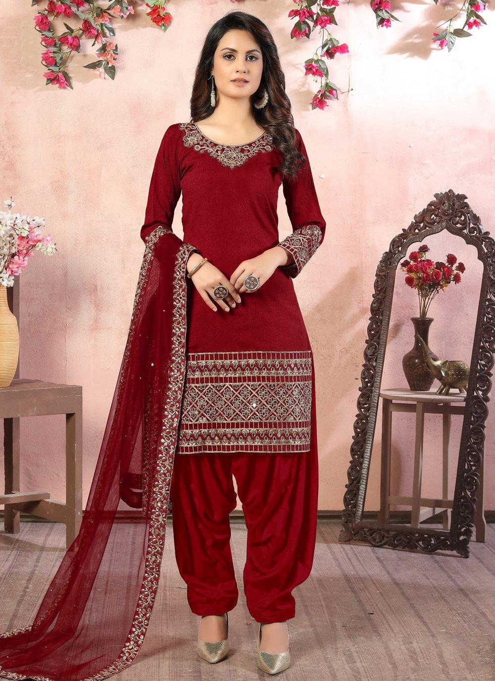 Art Silk Zari Designer Patiala Suit in Maroon