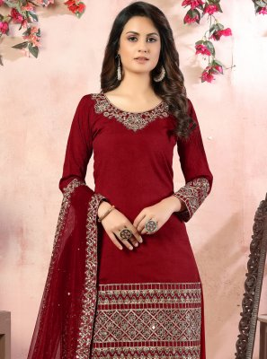 Art Silk Zari Designer Patiala Suit in Maroon