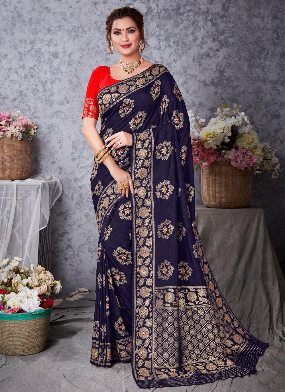 Art Silk Zari Navy Blue Designer Traditional Saree