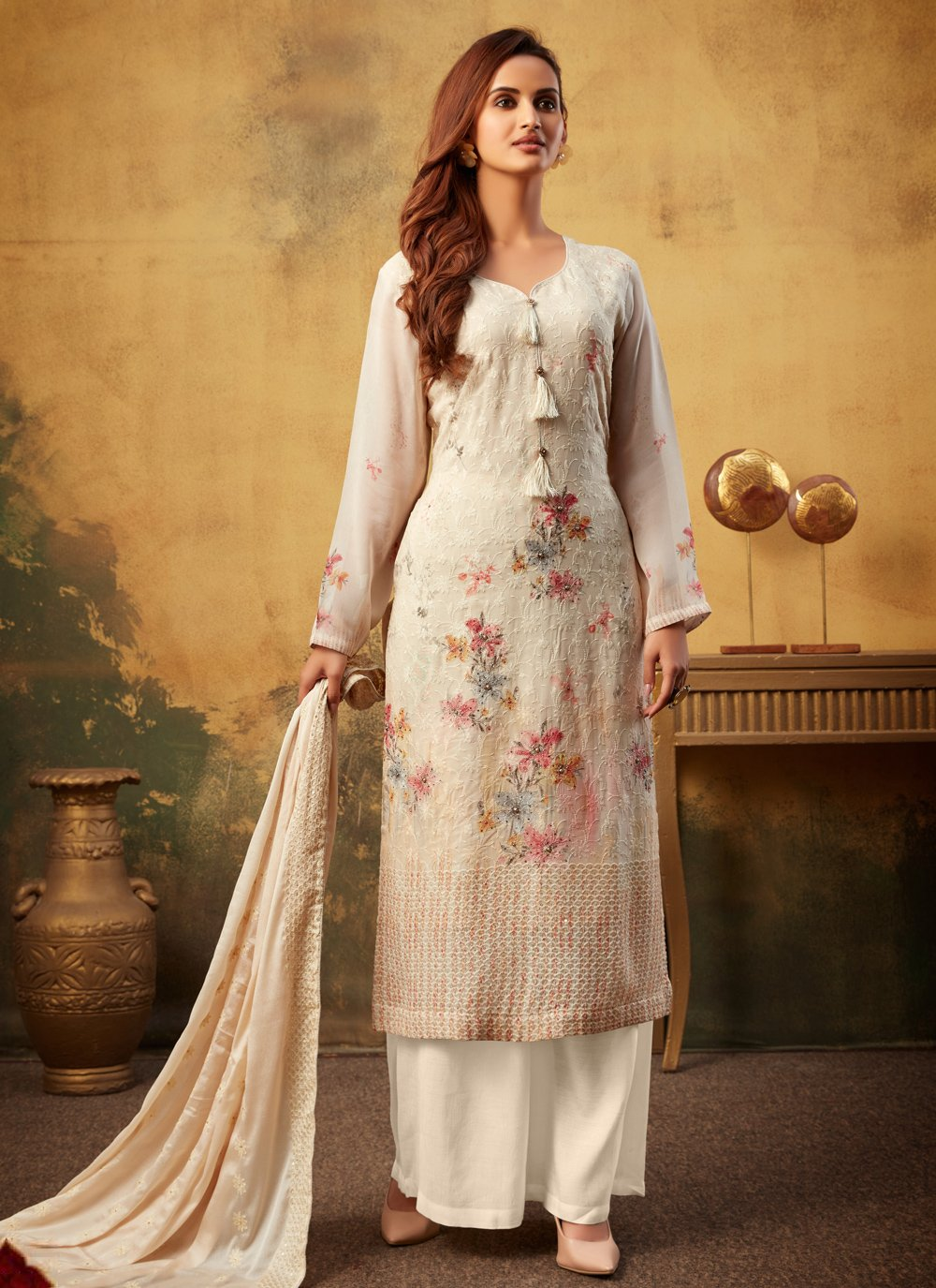 Bamber Georgette  Cream Digital Print Designer Palazzo Salwar Kameez