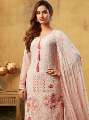 Bamber Georgette  Pink Designer Palazzo Suit