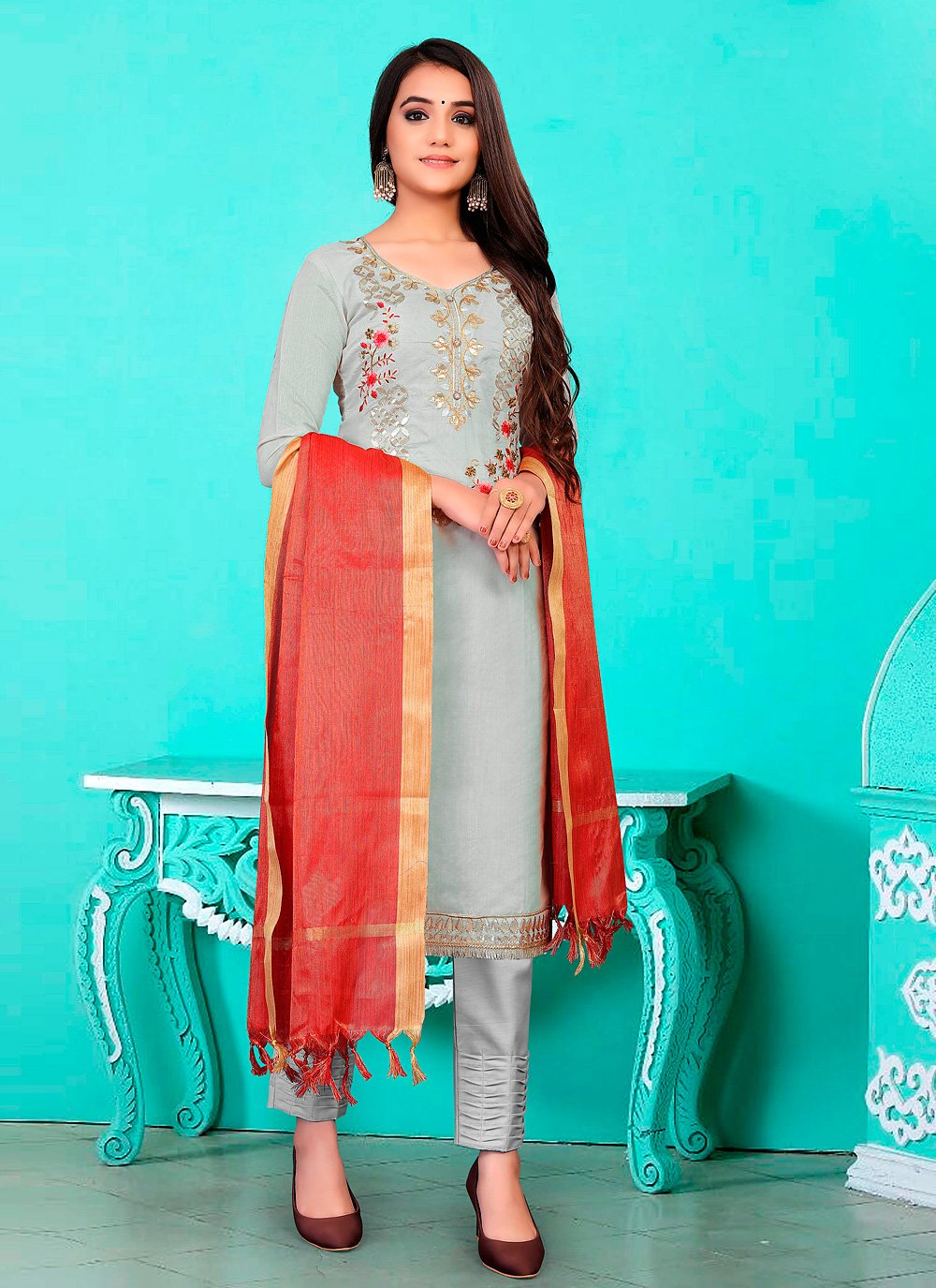 Banarasi Jacquard Fancy Grey Pant Style Suit