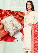 Banarasi Jacquard Fancy Pant Style Suit in Off White