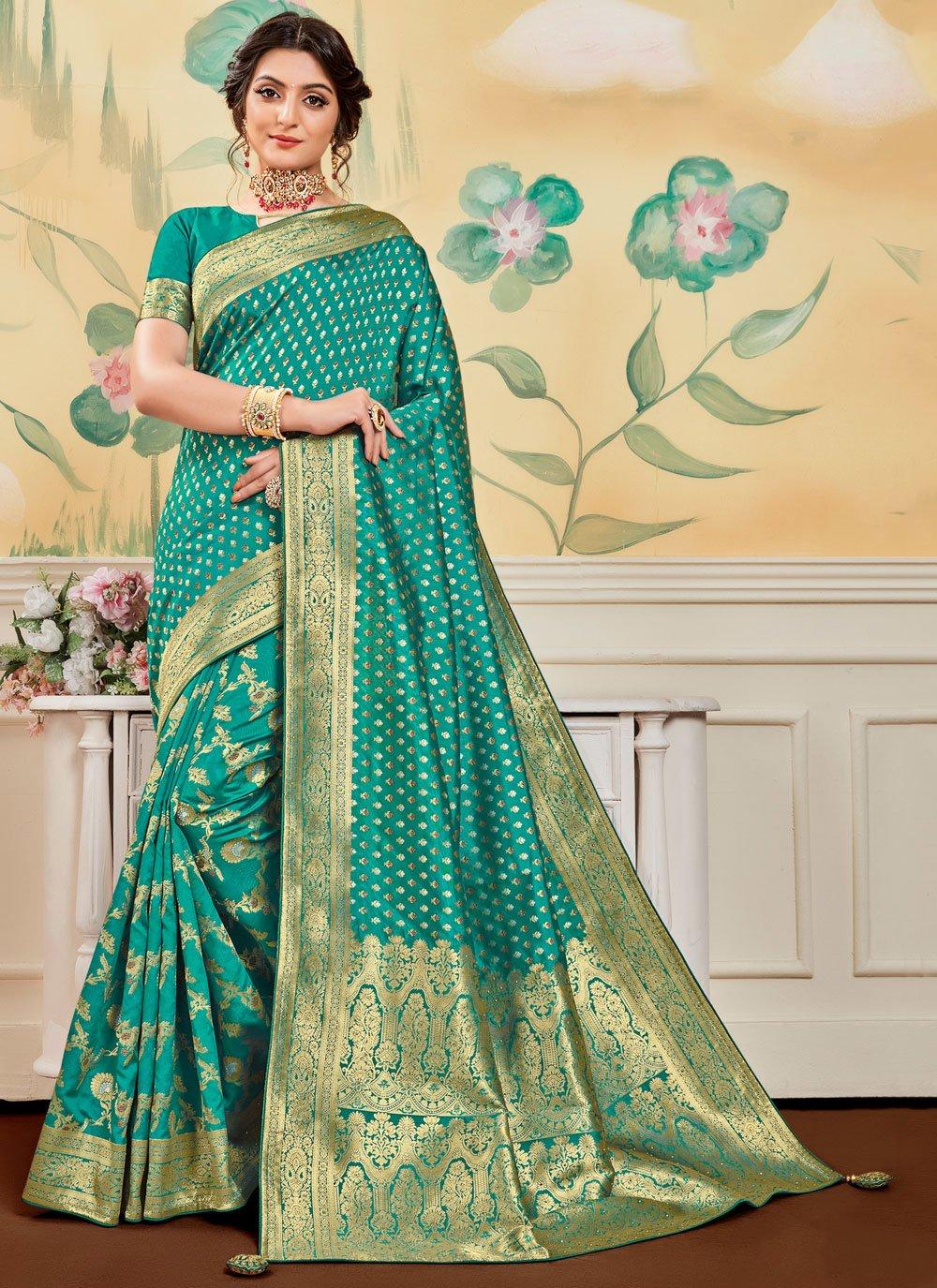 Banarasi Jacquard Jacquard Work Sea Green Designer Traditional Saree