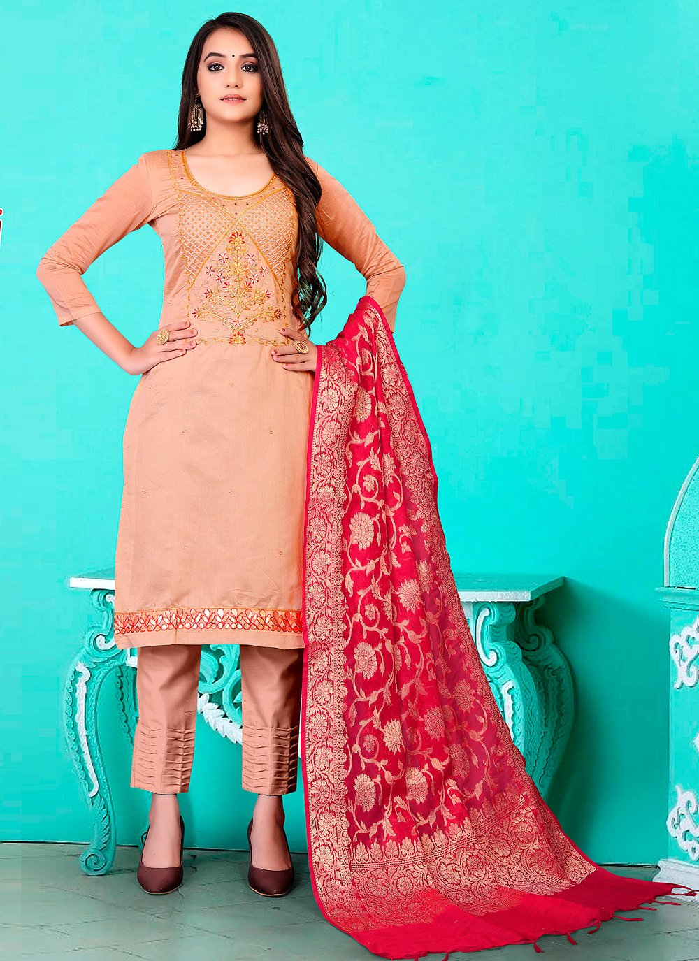 Banarasi Jacquard Peach Fancy Pant Style Suit