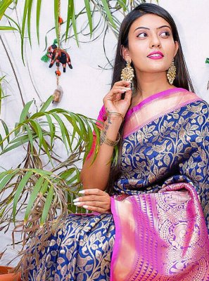 Banarasi Jacquard Print Designer Saree in Navy Blue