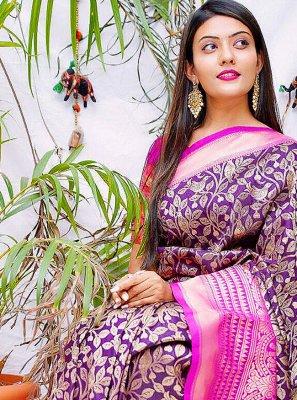 Banarasi Jacquard Print Purple Trendy Saree
