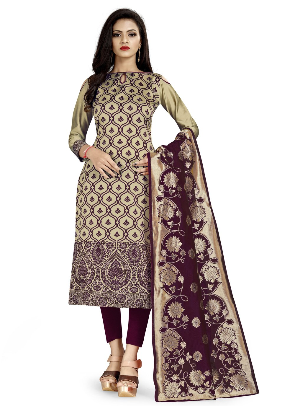 Banarasi Silk Beige Weaving Churidar Salwar Suit