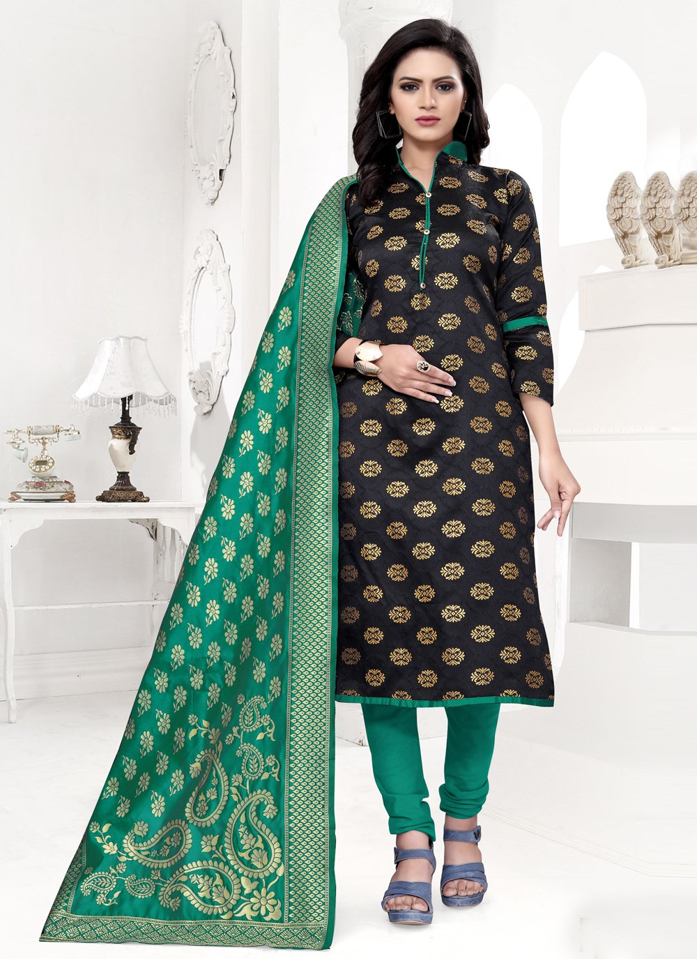 Banarasi Silk Black Churidar Salwar Suit