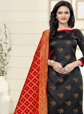 Banarasi Silk Black Churidar Suit