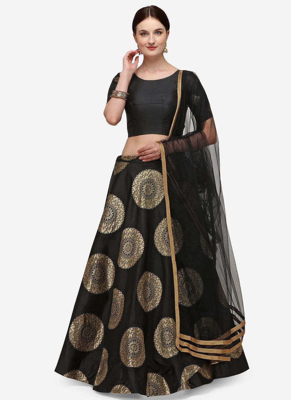 Banarasi Silk Black Fancy Lehenga Choli