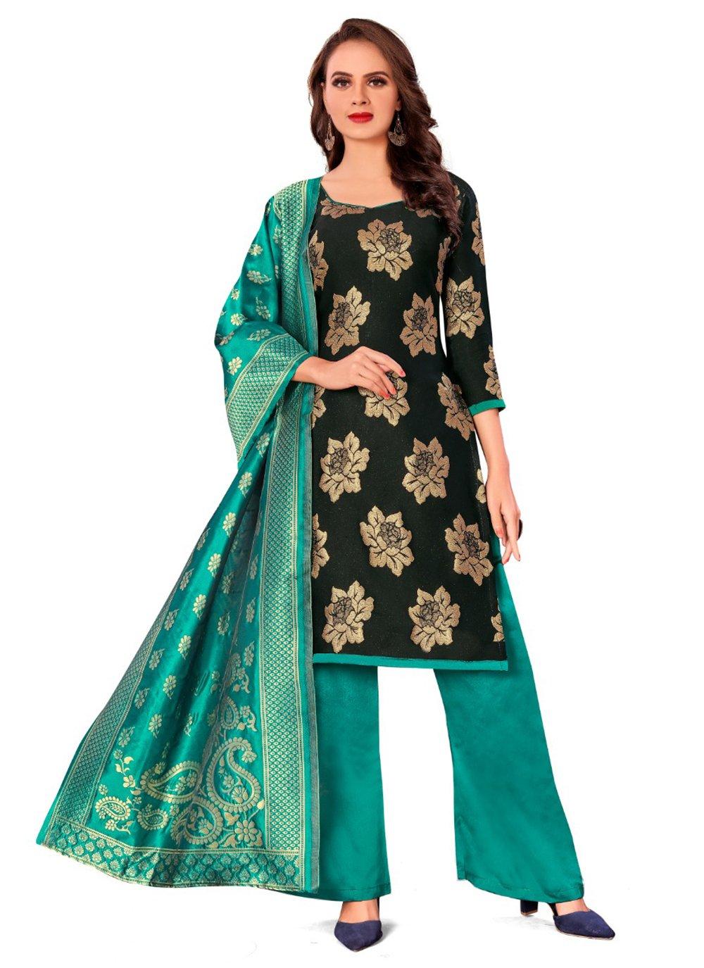 Banarasi Silk Black Jacquard Work Pant Style Suit