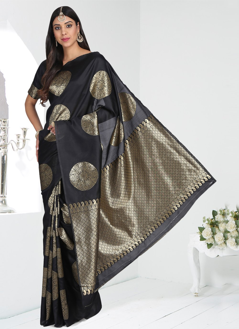 Banarasi Silk Black Traditional Saree
