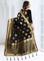 Banarasi Silk Black Woven Designer Traditional Saree