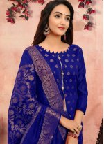 Banarasi Silk Blue Churidar Designer Suit