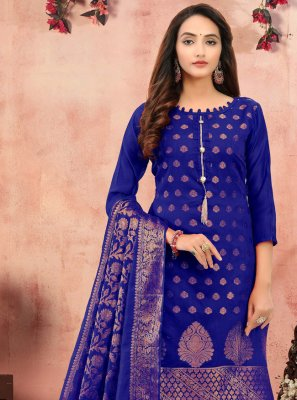 Banarasi Silk Blue Churidar Designer Suit