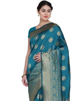 Banarasi Silk Blue Designer Traditional Saree