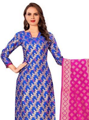 Banarasi Silk Blue Pant Style Suit