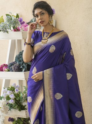 Banarasi Silk Blue Traditional Saree