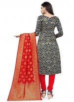 Banarasi Silk Blue Weaving Churidar Designer Suit