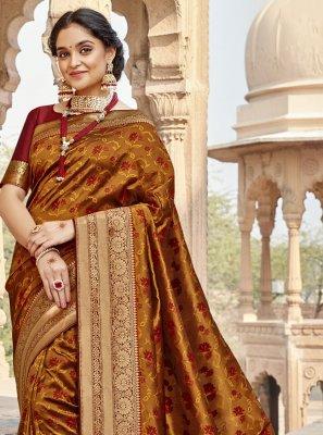 Banarasi Silk Brown Classic Designer Saree