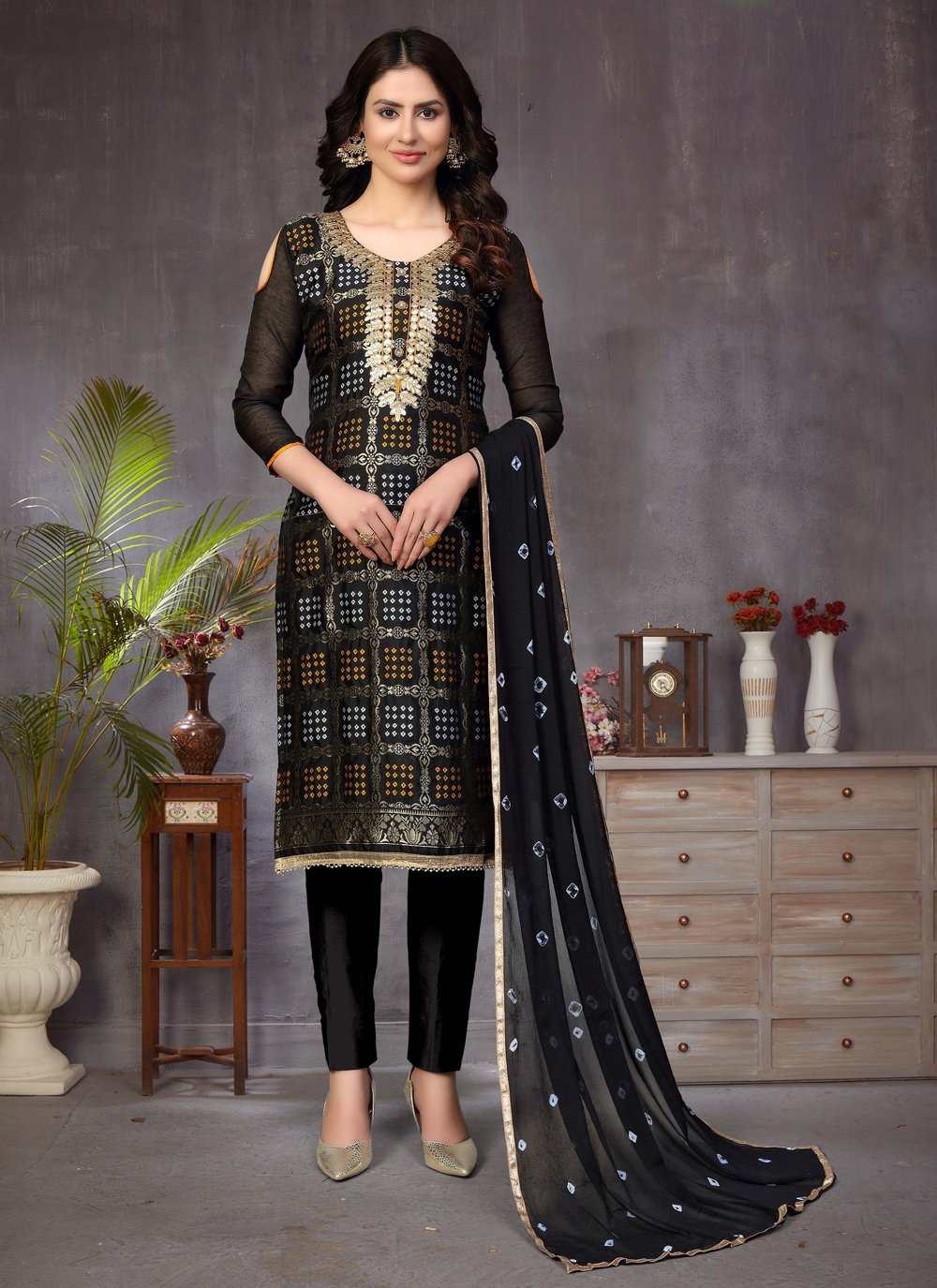 Banarasi Silk Ceremonial Churidar Suit