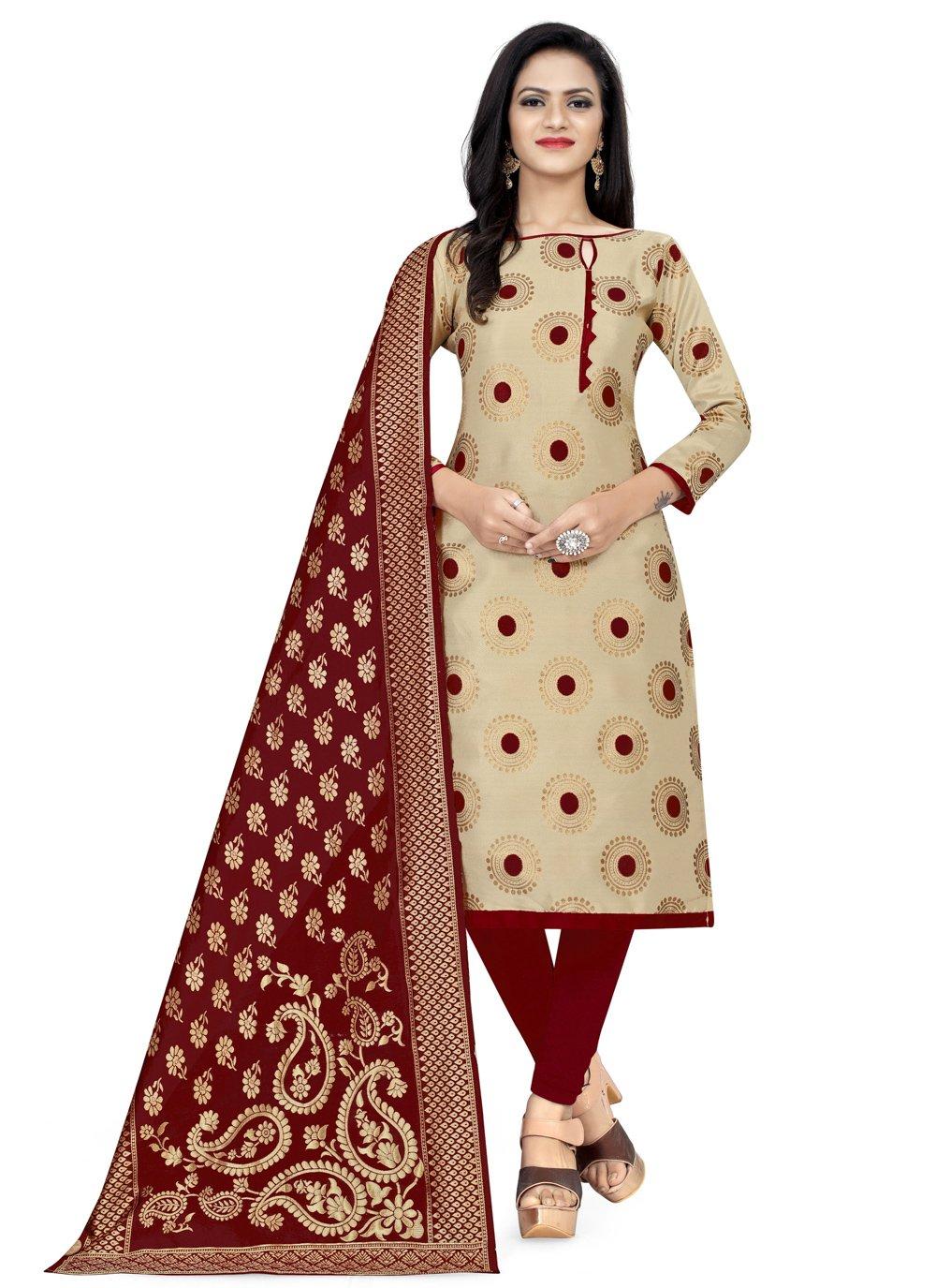 Banarasi Silk Churidar Designer Suit in Beige