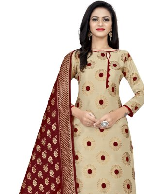 Banarasi Silk Churidar Designer Suit in Beige