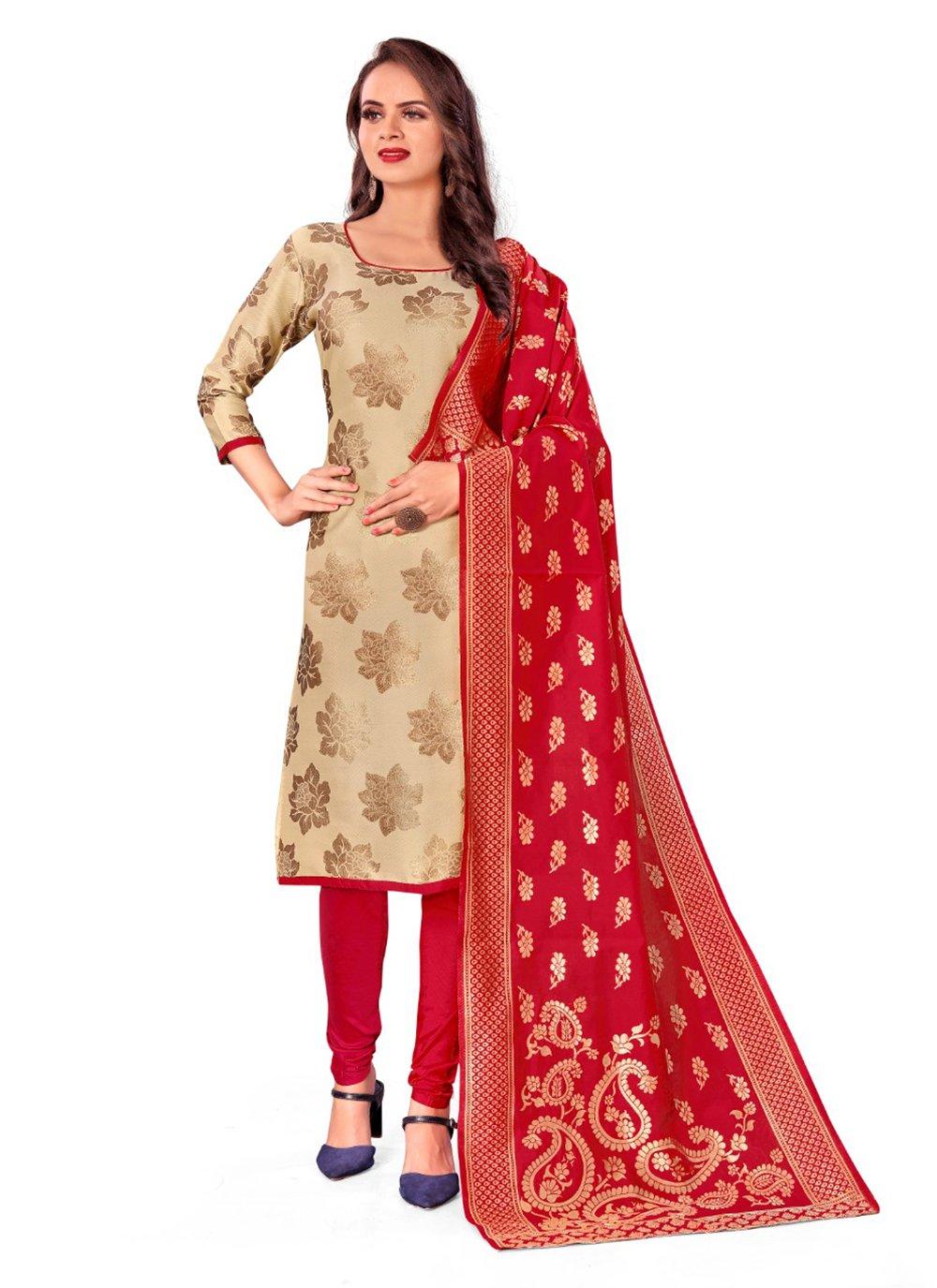 Banarasi Silk Churidar Designer Suit in Cream